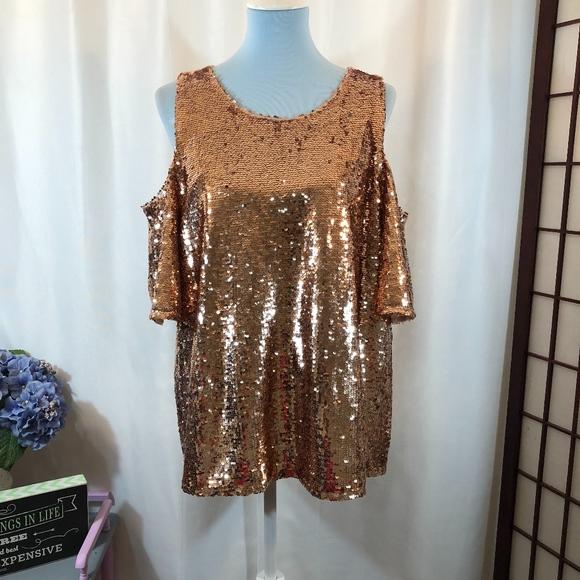 9f79a9daad5b39 INC Rose Gold Cold Shoulder Sequin Top